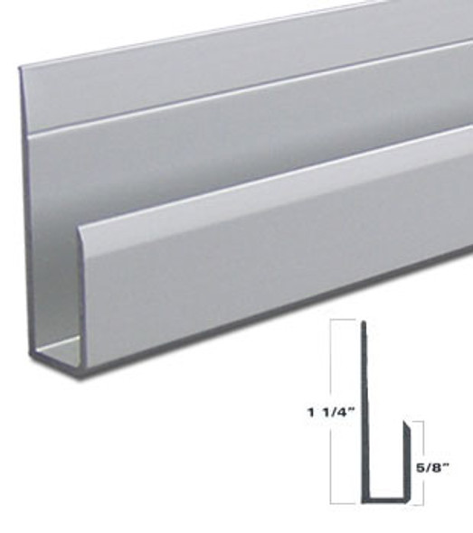 """Satin Anodized Aluminum Deep J Channel for 1/4"""" Mirror Support 95"""""""