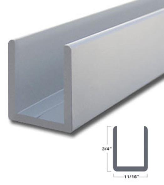 "Satin Anodized Aluminum Deep U-Channel for 1/2"" Glass 47-7/8"" Long"