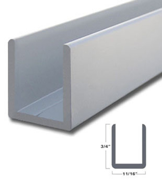 "Satin Anodized Aluminum Deep U-Channel for 1/2"" Glass 95"" Long"