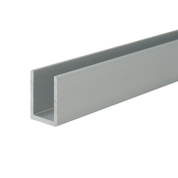 "Satin Anodized Aluminum Deep U-Channel for 1/2"" Glass 95"" Long"