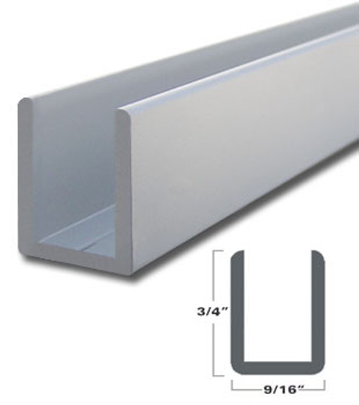 "Satin Anodized Aluminum Deep U-Channel for 3/8"" Glass 95"" Long"