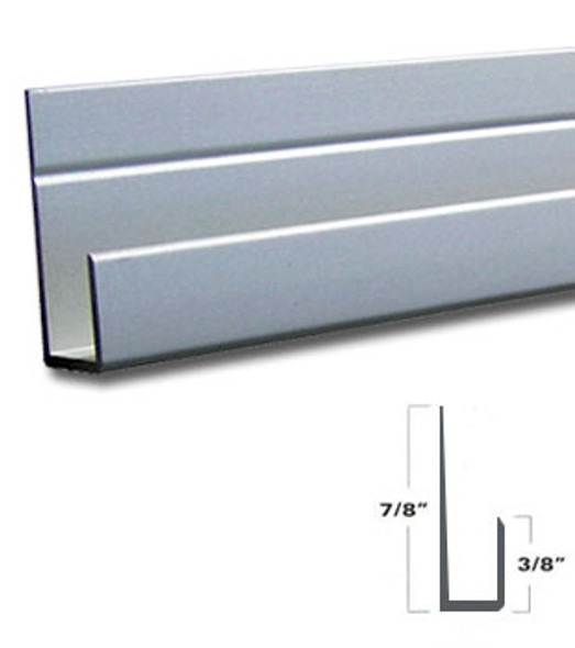 "Satin Anodized Aluminum J Channel for 1/4"" Mirror Support 95"" Long"