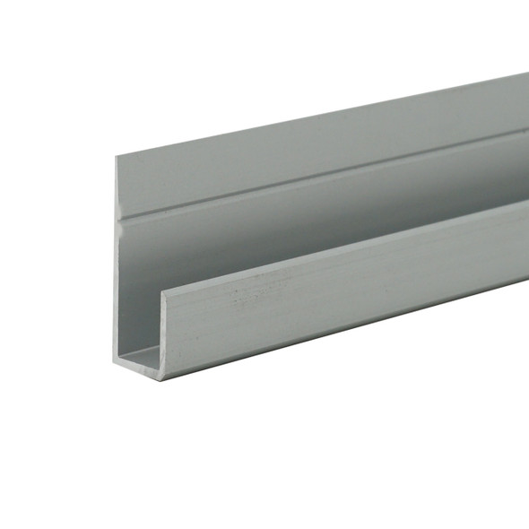 """Satin Anodized Aluminum J Channel for 1/4"""" Mirror Support 95"""" Long"""