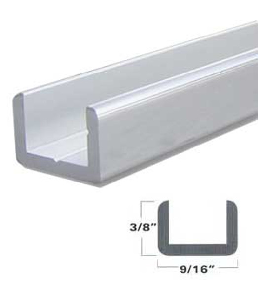 "Satin Anodized Aluminum Shallow U-Channel for 3/8"" Glass 95"" Long"