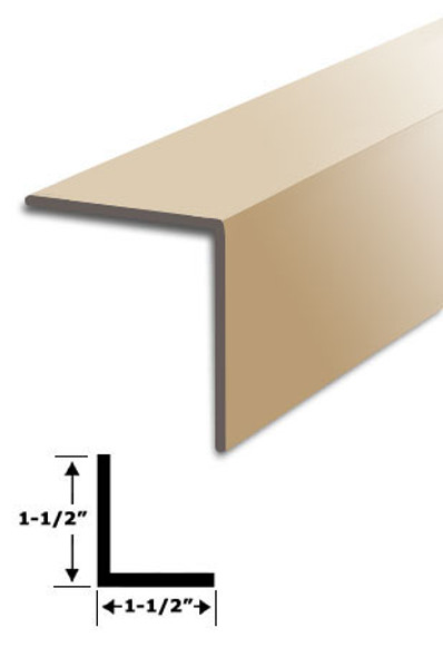 "1-1/2"" x 1-1/2"" Tan Vinyl ""L"" Trim With Tape 95"" Long"
