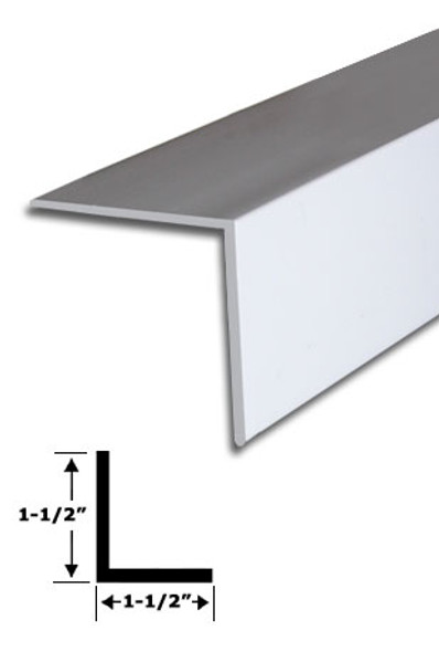 "1-1/2"" x 1-1/2"" White Vinyl ""L"" Trim With Tape 95"" Long"