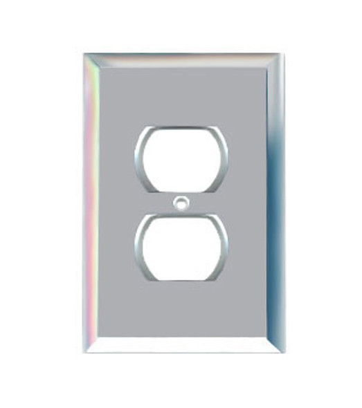 Single Duplex Glass Mirror Outlet Cover Plate