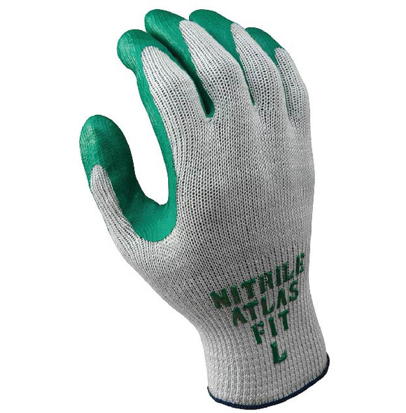 SHOWA ATLAS 10 Gauge Nitrile Palm Coated Work Gloves W/Cotton & Polyester Liner & Knit Wrist (A2)
