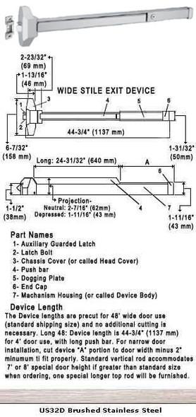 """Standard Push Bar Rim Panic Exit Device US32D Finish 48"""""""