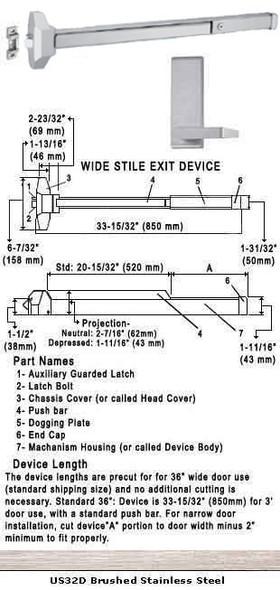"Standard Push Bar Rim Panic Exit Device With Lever Trim US32D 36"""