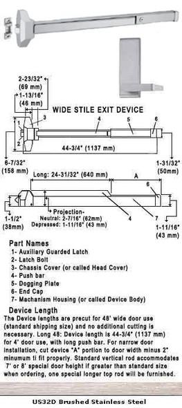 "Standard Push Bar Rim Panic Exit Device With Lever Trim US32D 48"""