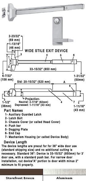 "Standard Push Bar Rim Panic Exit Device With Locking Lever Trim 36"""