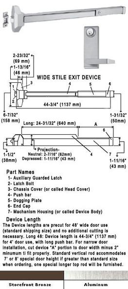 "Standard Push Bar Rim Panic Exit Device With Locking Lever Trim 48"""