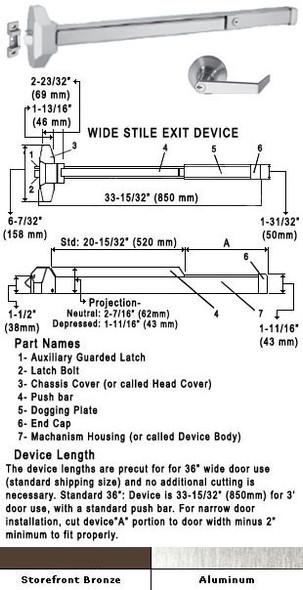 "Standard Push Bar Rim Panic Exit Device With Locking Rose Trim 36"""