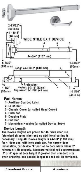 "Standard Push Bar Rim Panic Exit Device With Locking Rose Trim 48"""