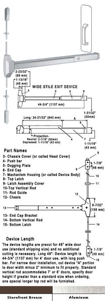 Standard Surface Rod Panic Exit Device With Pull Plate 48""