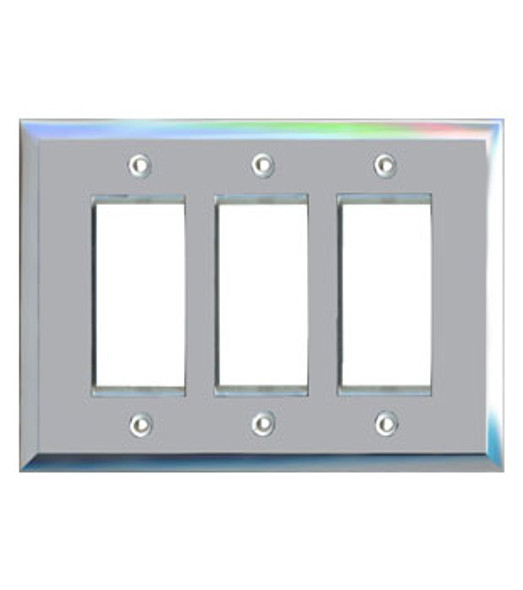 Triple Decora Glass Mirror Switch Cover Plate