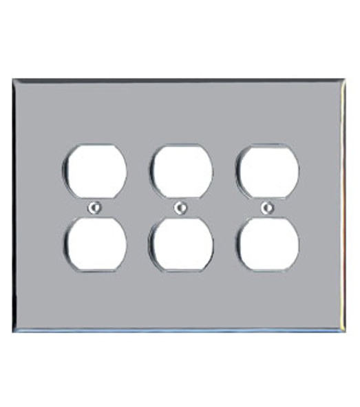 Triple Duplex Acrylic Mirror Outlet Cover Plate