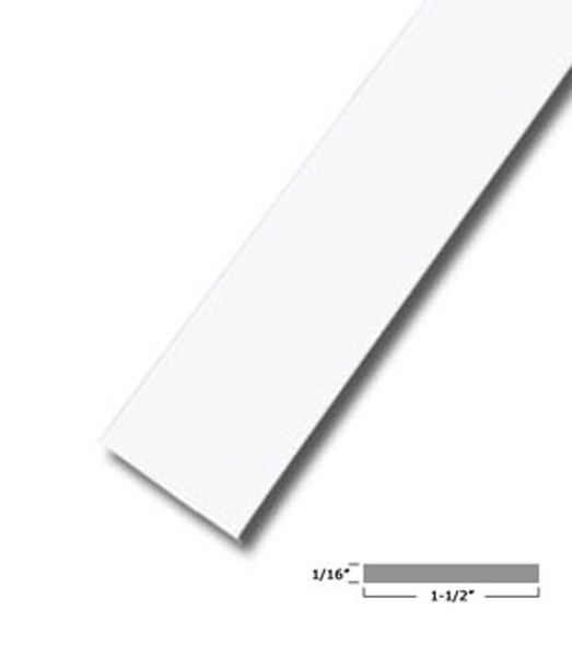 "1-1/2"" X 1/16"" Aluminum Flat Bar White Finish with Tape 95"" Long"