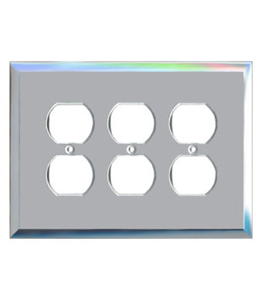 Triple Duplex Glass Mirror Outlet Cover Plate