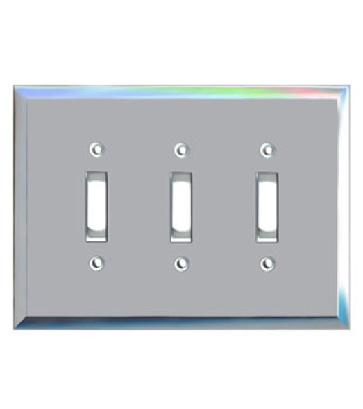 Triple Toggle Glass Mirror Switch Cover Plate