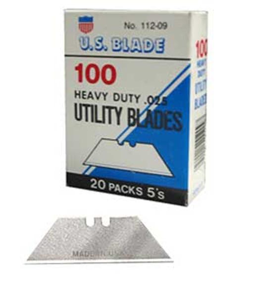US Blade 112-09 Notched Utility Razor Blades 100/Box