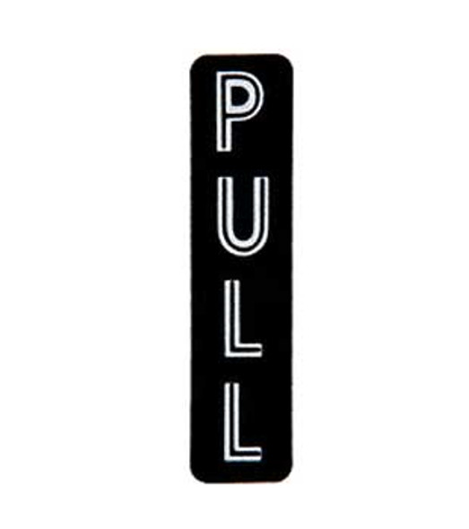 Vertical - PULL - Decal Black with Silver Letters