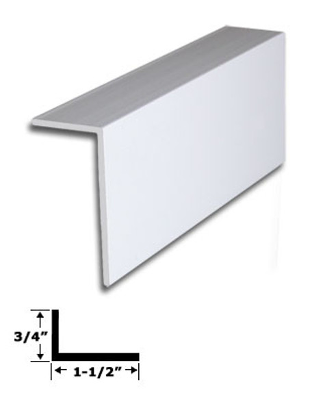"1-1/2"" x 3/4"" White Vinyl ""L"" Trim With Tape 71-7/8"" Long"