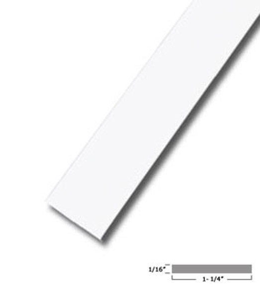 "1-1/4 X 1/16"" Aluminum Flat Bar White Finish with Tape 95"" Long"