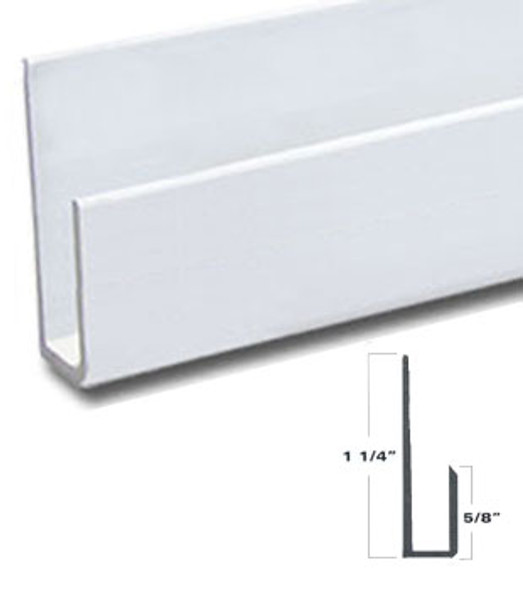 """White Finish Aluminum Deep J Channel for 1/4"""" Mirror Support 95"""" Long"""