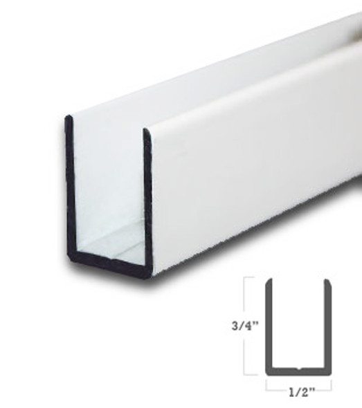 "White Finish Aluminum Deep U-Channel for 3/8"" Glass 95"" Long"
