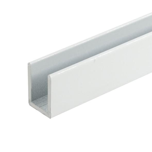 "White Finish Aluminum Deep U-Channel for 3/8"" Glass 95"" Long"
