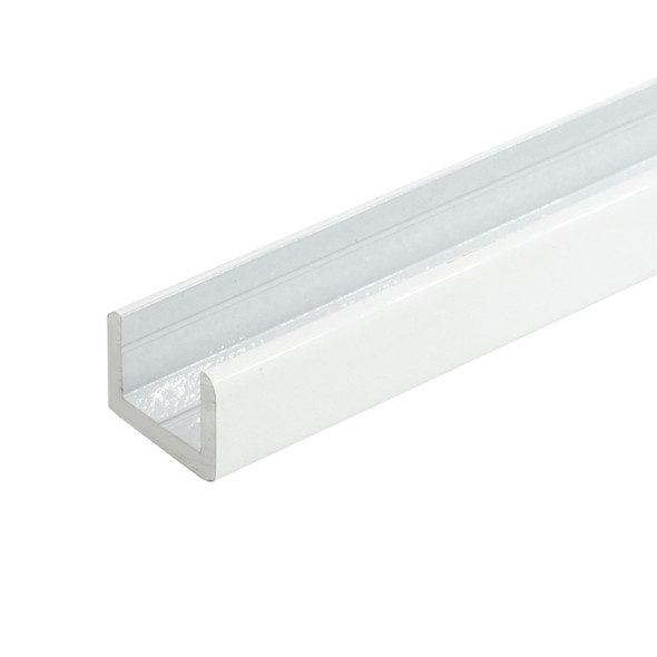 """White Finish Aluminum Shallow U-Channel for 3/8"""" Glass 47-7/8"""" Long"""