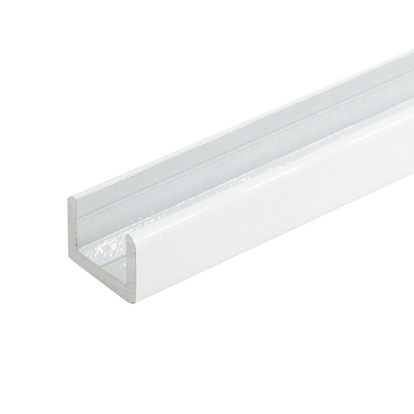 """White Finish Aluminum Shallow U-Channel for 3/8"""" Glass 95"""" Long"""