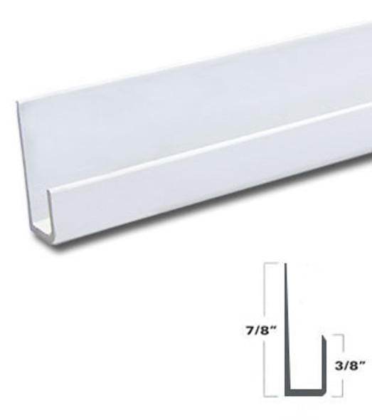 """White Finished Aluminum J Channel for 1/4"""" Mirror Support 95"""" Long"""