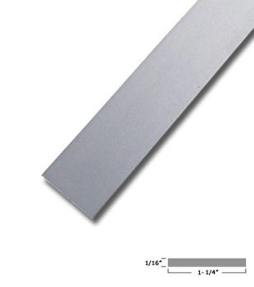 "1-1/4"" X 1/16"" Aluminum Flat Bar Satin Finish with Tape 47-7/8"""