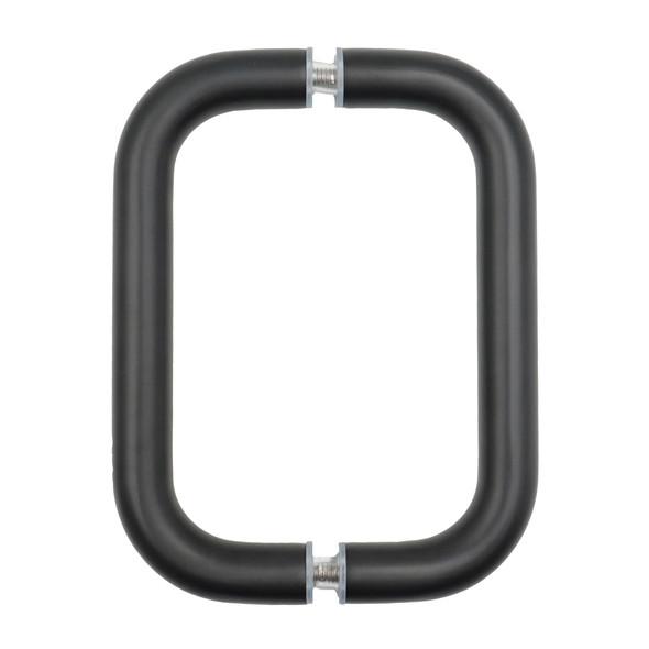 """Matte Black 6"""" Back To Back Tubular Shower Door Pull Handles"""