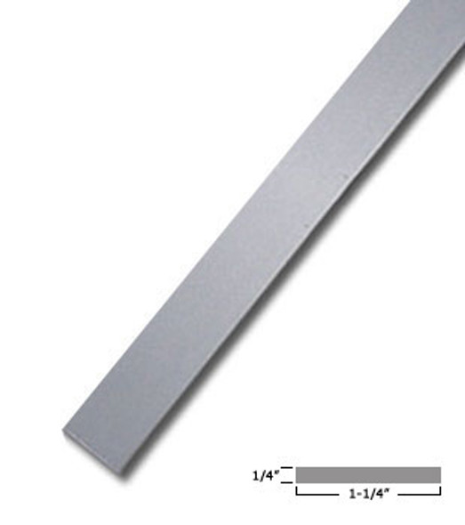 "1-1/4"" X 1/4"" Aluminum Flat Bar Satin Anodized Finish 95"" Long"