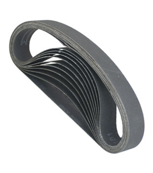 "1-1/8"" X 21"" Wet / Dry Glass Sanding Belts - 60 Grit - 10 Pack"