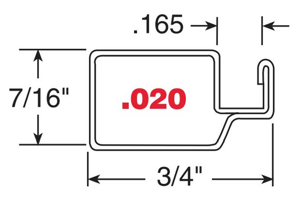 "7/16"" Mill Finish Aluminum Screen Frame .020 - 10 Pack 72"""