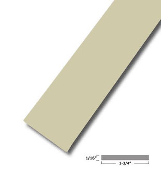 "1-3/4"" X .075"" Almond Vinyl Flat Bar Window Trim with Tape -12 ft Long"