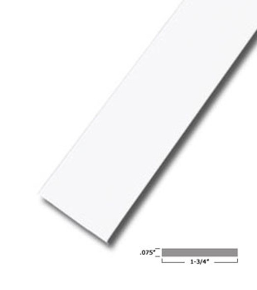 "1-3/4"" X .075"" White Vinyl Flat Bar Window Trim with Tape -12 ft Long"