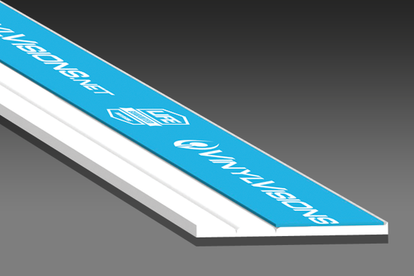 """1-1/4"""" Flat Bar With 3/4"""" Adhesive - White - 12ft Long"""