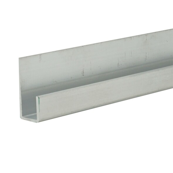 """6063 Alloy Unfinished Aluminum J Channel for 1/4"""" Mirror Support 95"""" Long"""