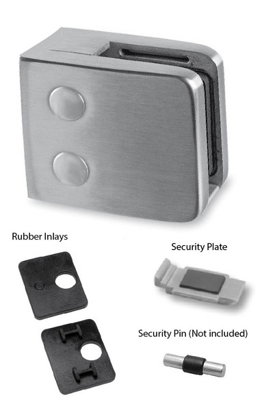 Brushed Stainless Square Glass Clamp Parts