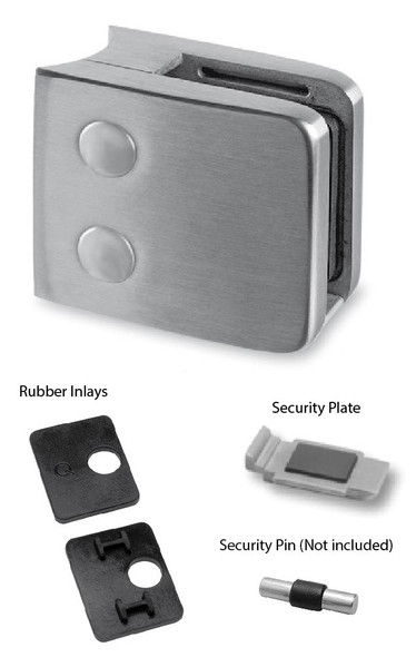 Brushed Stainless Outdoor Square Glass Clamp - 316 Stainless Steel KIT