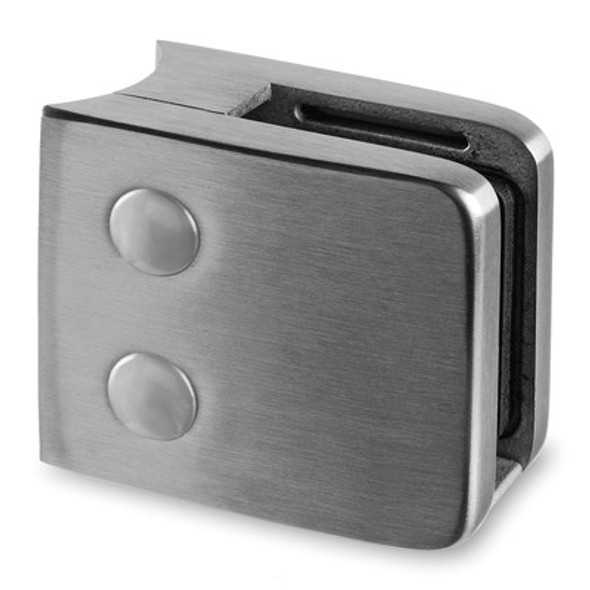 Brushed Stainless Outdoor Square Glass Clamp - 316 Stainless Steel