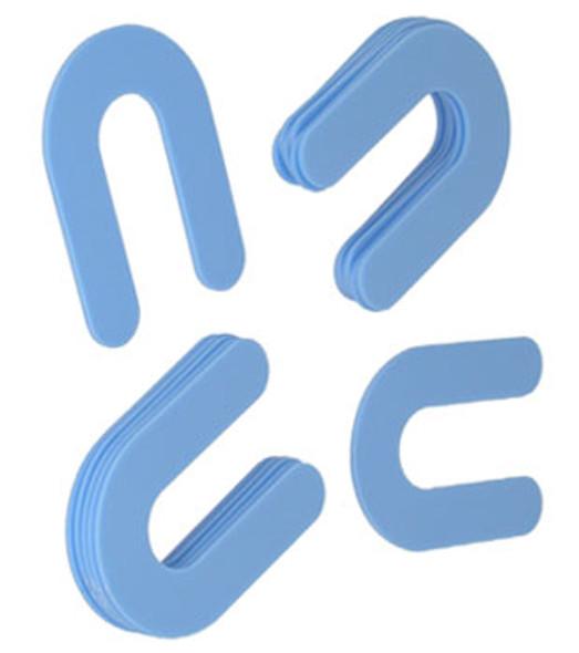 """1/16"""" x  2"""" Blue Plastic Horseshoe Shims- 100 Pack"""