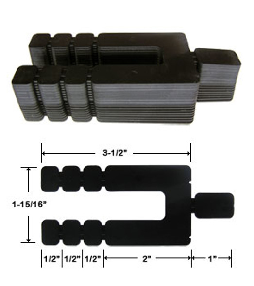 "1/16"" x 3-1/2"" Adjustable Size Stack Shims 96 Pack"