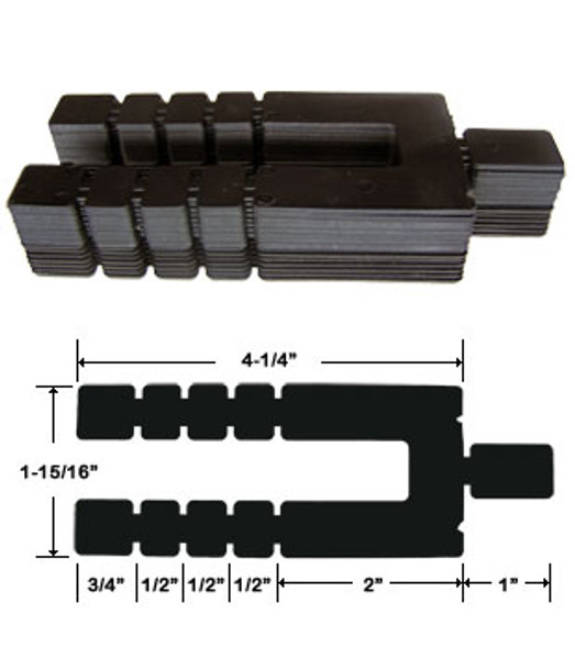 "1/16"" x 4-1/4"" Adjustable Size Stack Shims 96 Pack"